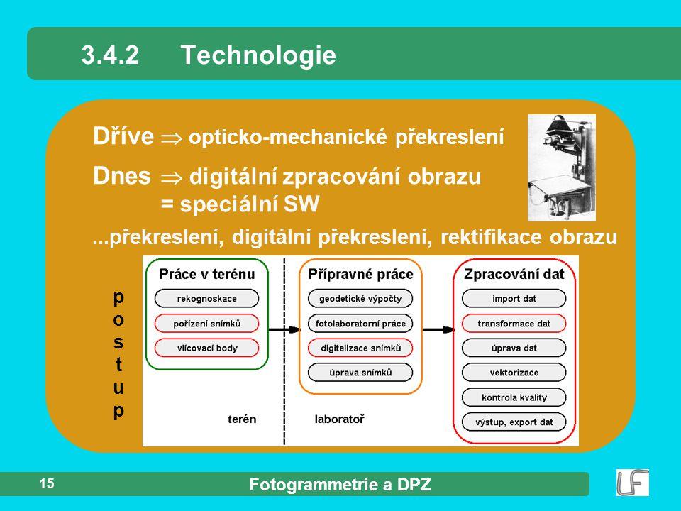 3.4.2 Technologie Dříve  opticko-mechanické překreslení