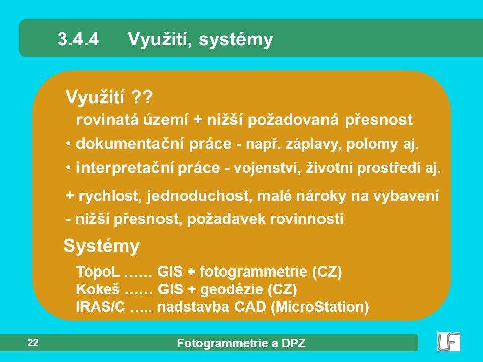 3.4.4 Využití, systémy Využití Systémy