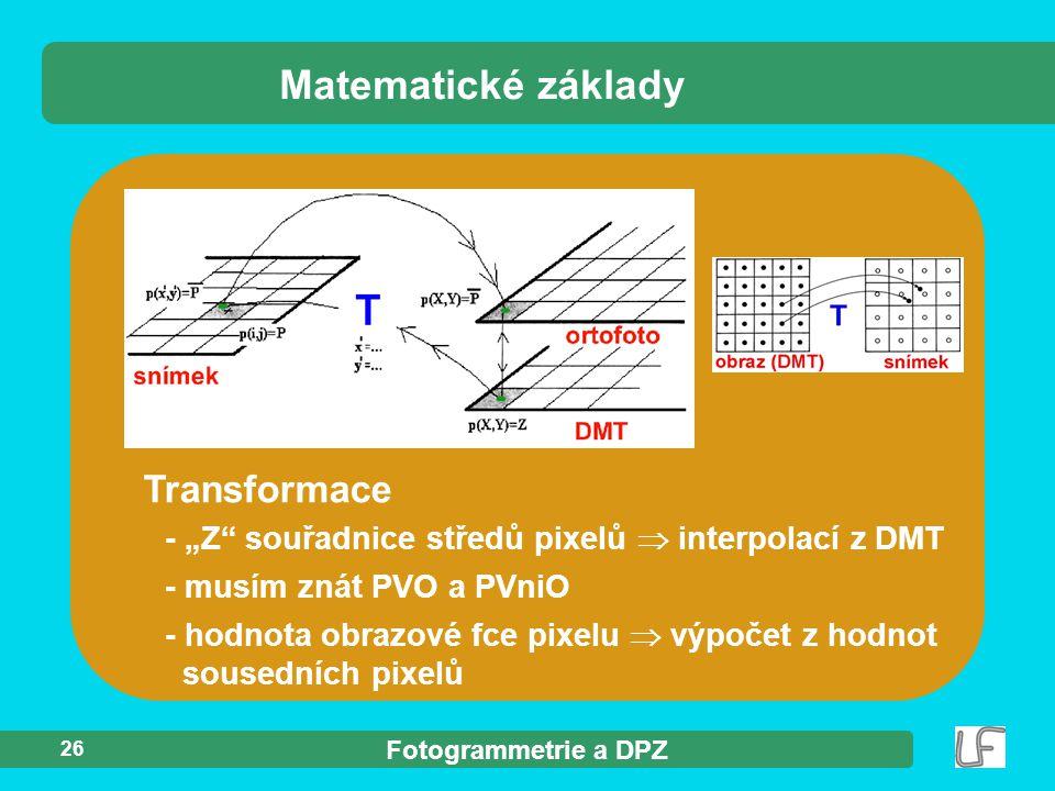 Matematické základy Transformace