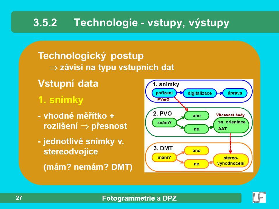 3.5.2 Technologie - vstupy, výstupy