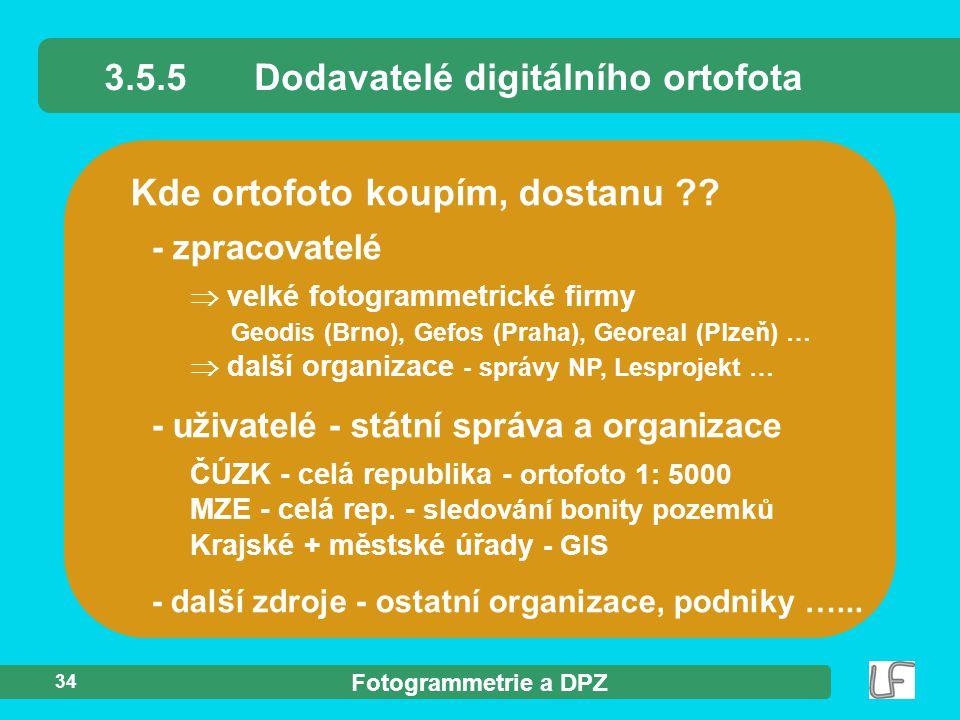 3.5.5 Dodavatelé digitálního ortofota