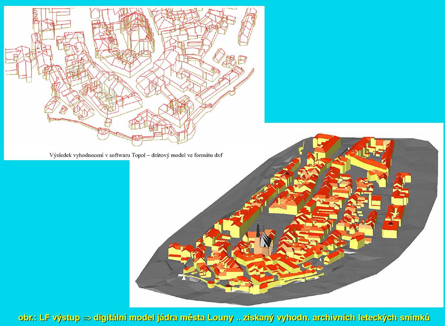 obr. : LF výstup  digitální model jádra města Louny. získaný vyhodn
