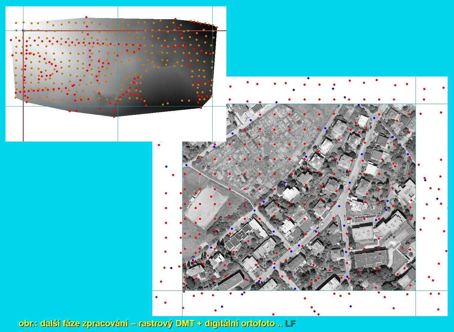 obr.: další fáze zpracování – rastrový DMT + digitální ortofoto .. LF