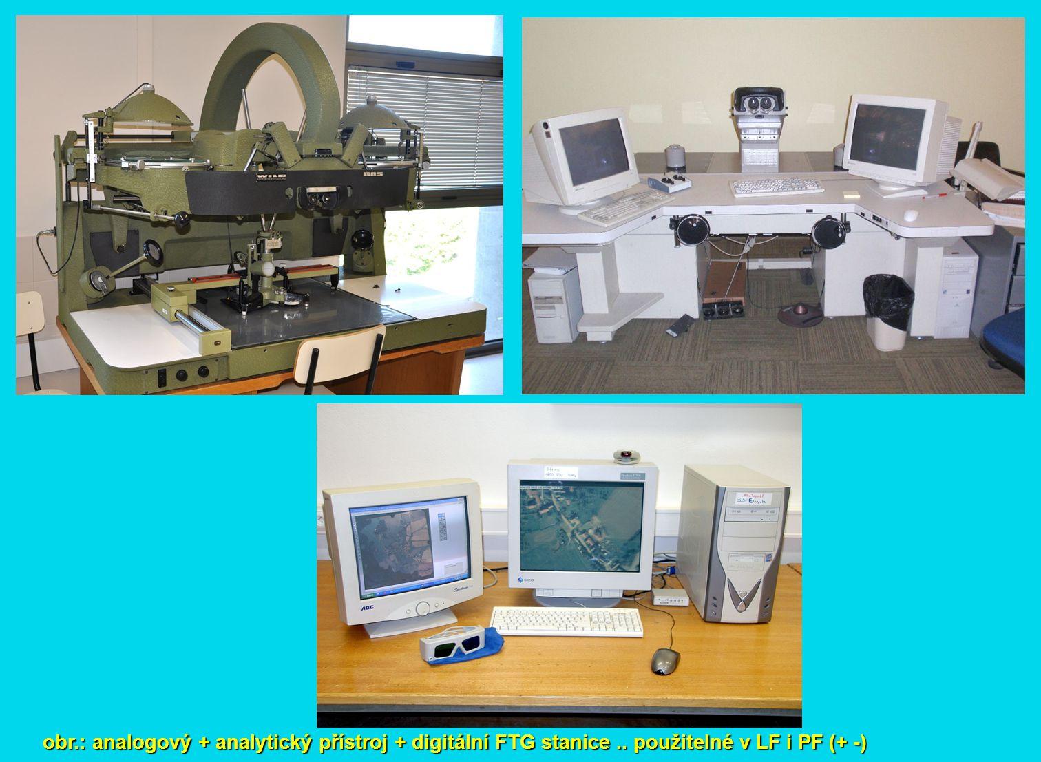 obr. : analogový + analytický přístroj + digitální FTG stanice