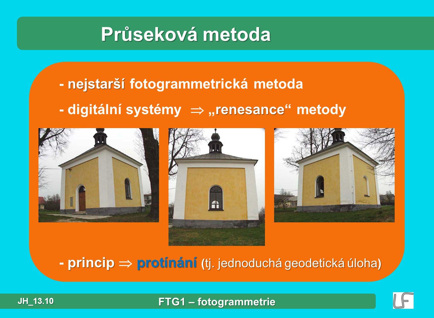 Průseková metoda - nejstarší fotogrammetrická metoda
