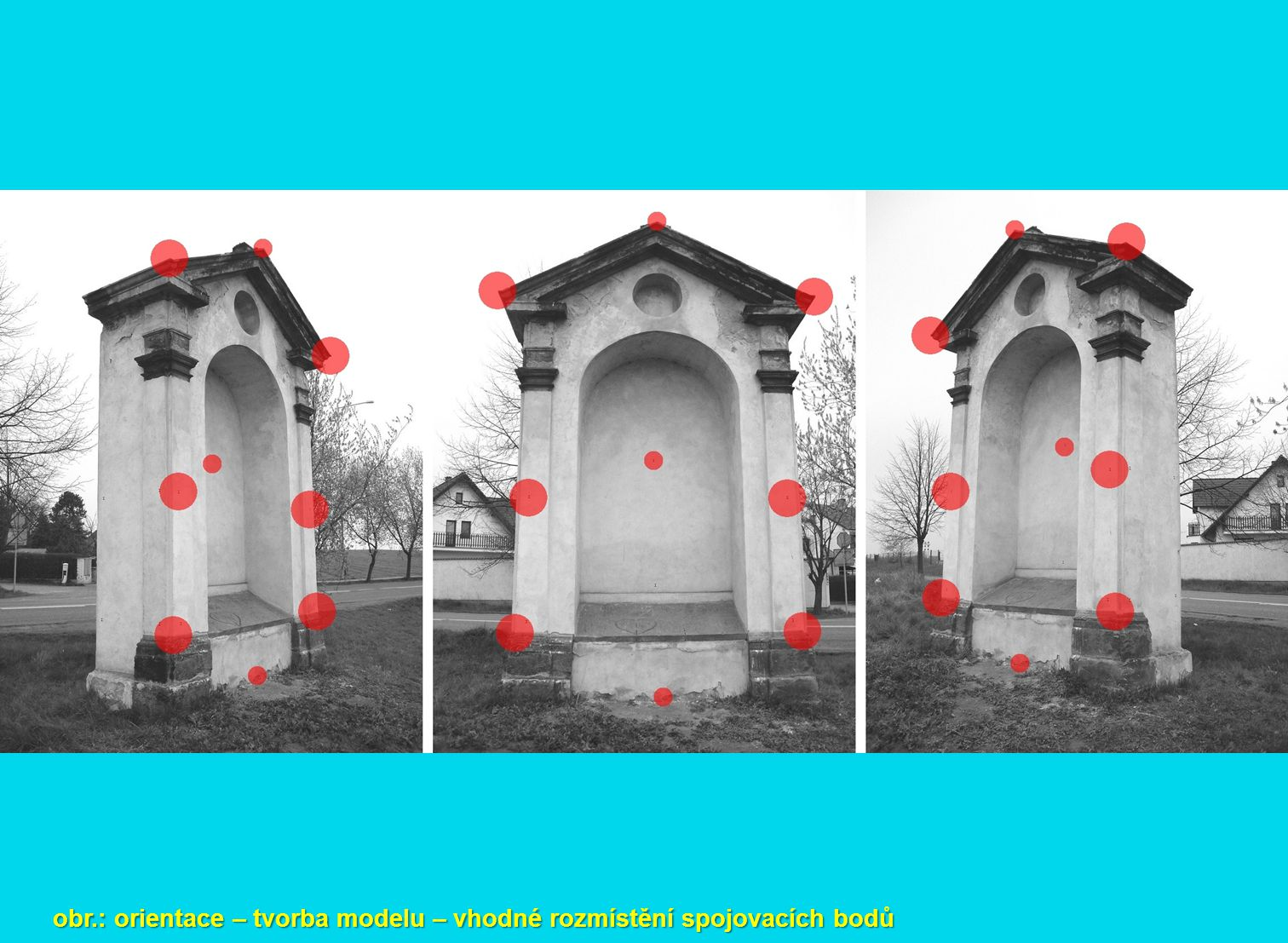 obr.: orientace – tvorba modelu – vhodné rozmístění spojovacích bodů