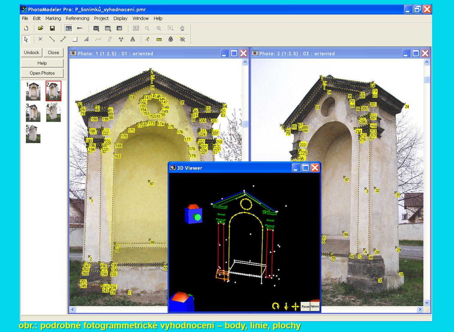 obr.: podrobné fotogrammetrické vyhodnocení – body, linie, plochy