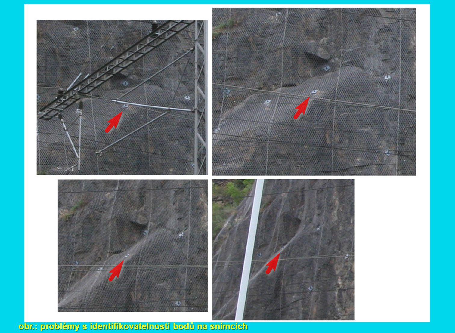 obr.: problémy s identifikovatelností bodů na snímcích