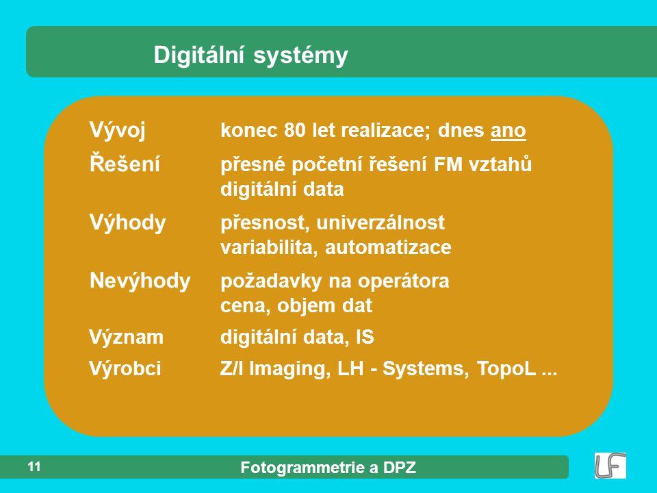 Digitální systémy Vývoj konec 80 let realizace; dnes ano