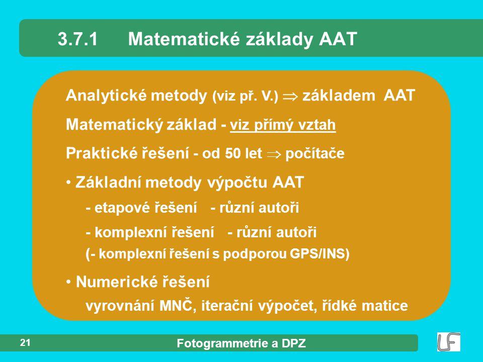 3.7.1 Matematické základy AAT