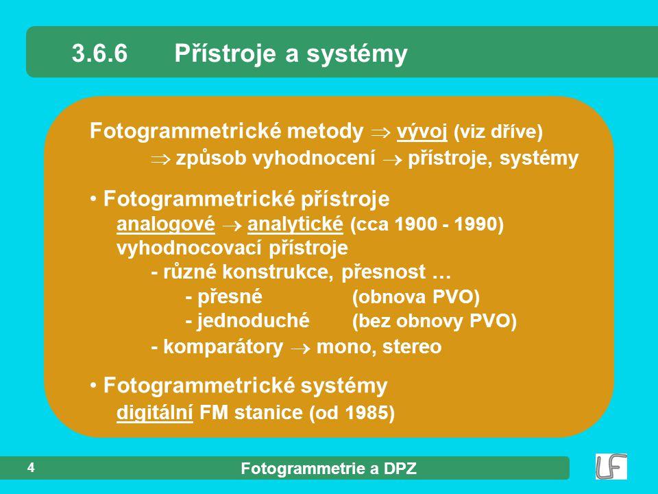 3.6.6 Přístroje a systémy Fotogrammetrické metody  vývoj (viz dříve)  způsob vyhodnocení  přístroje, systémy.