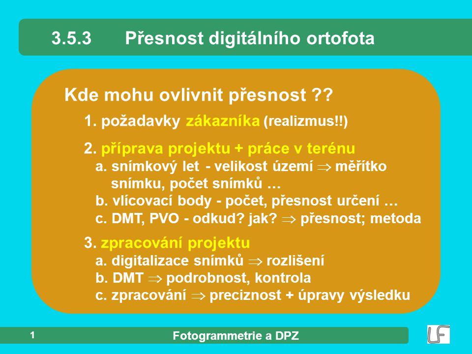 3.5.3 Přesnost digitálního ortofota