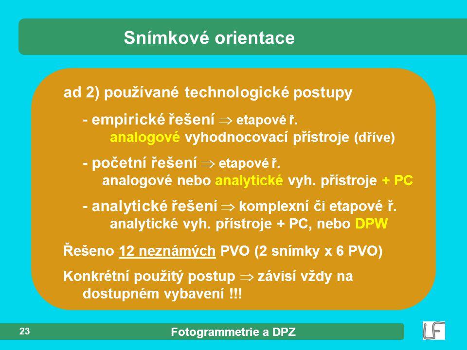 Snímkové orientace ad 2) používané technologické postupy