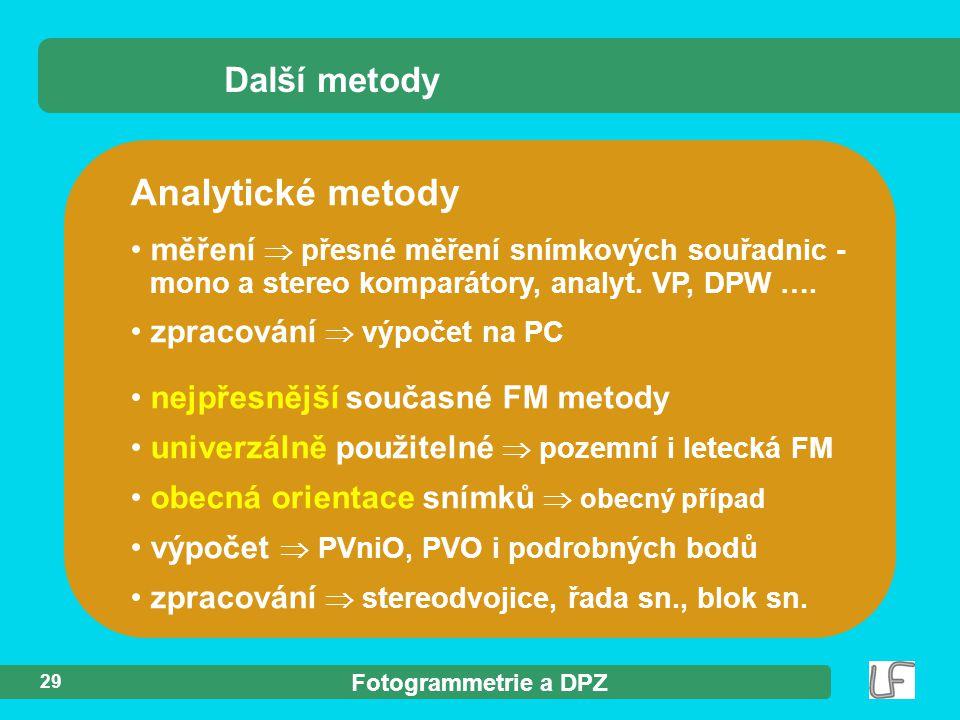 Analytické metody Další metody