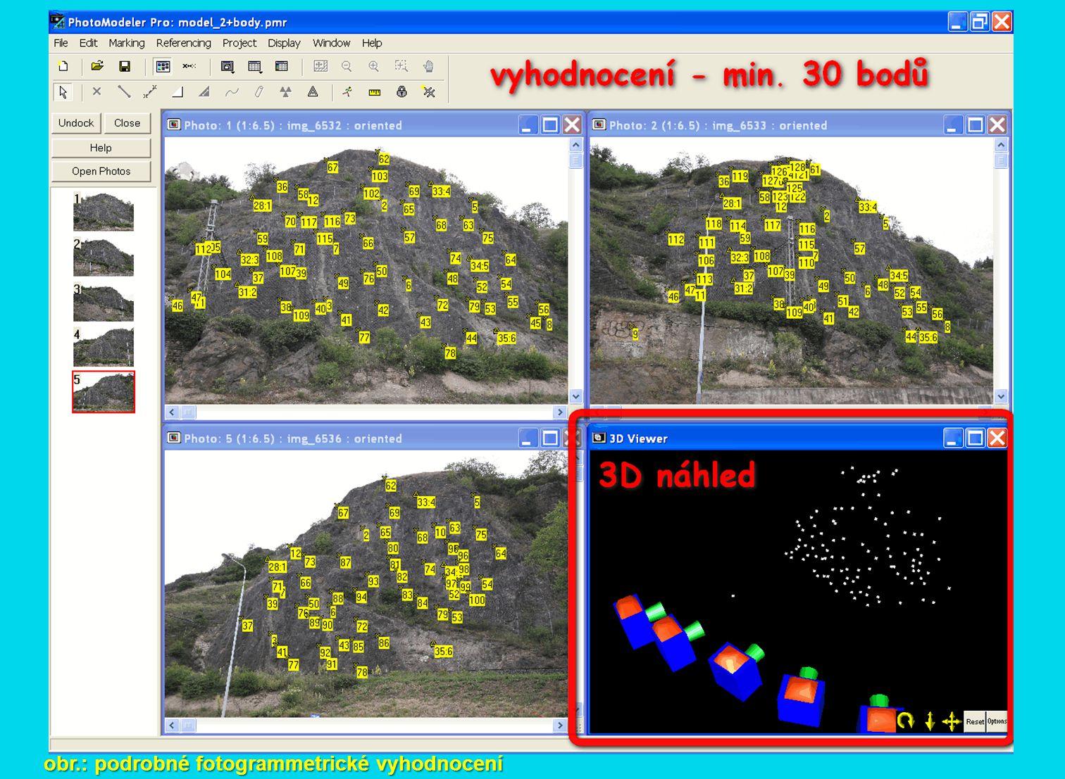 obr.: podrobné fotogrammetrické vyhodnocení