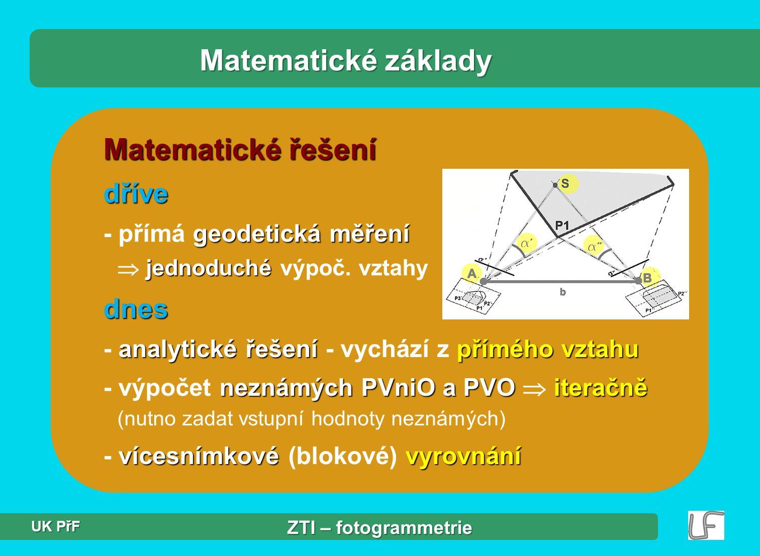 Matematické základy Matematické řešení dříve dnes
