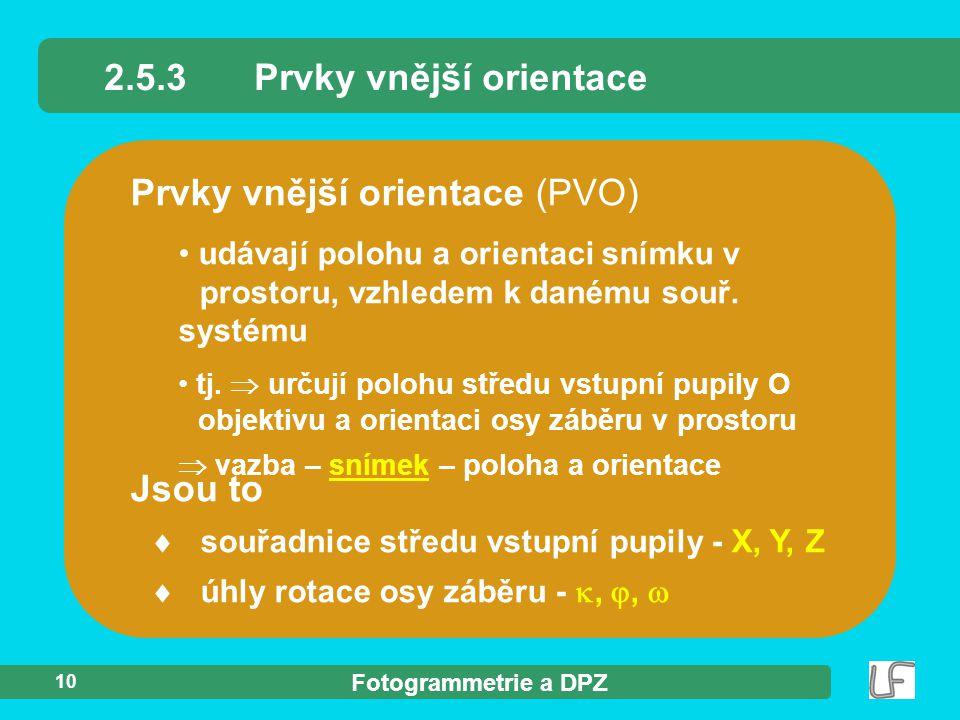 2.5.3 Prvky vnější orientace
