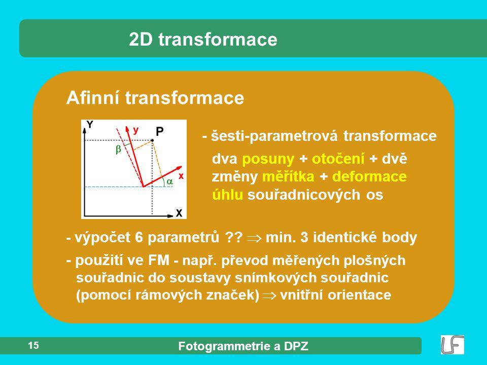 2D transformace Afinní transformace - šesti-parametrová transformace