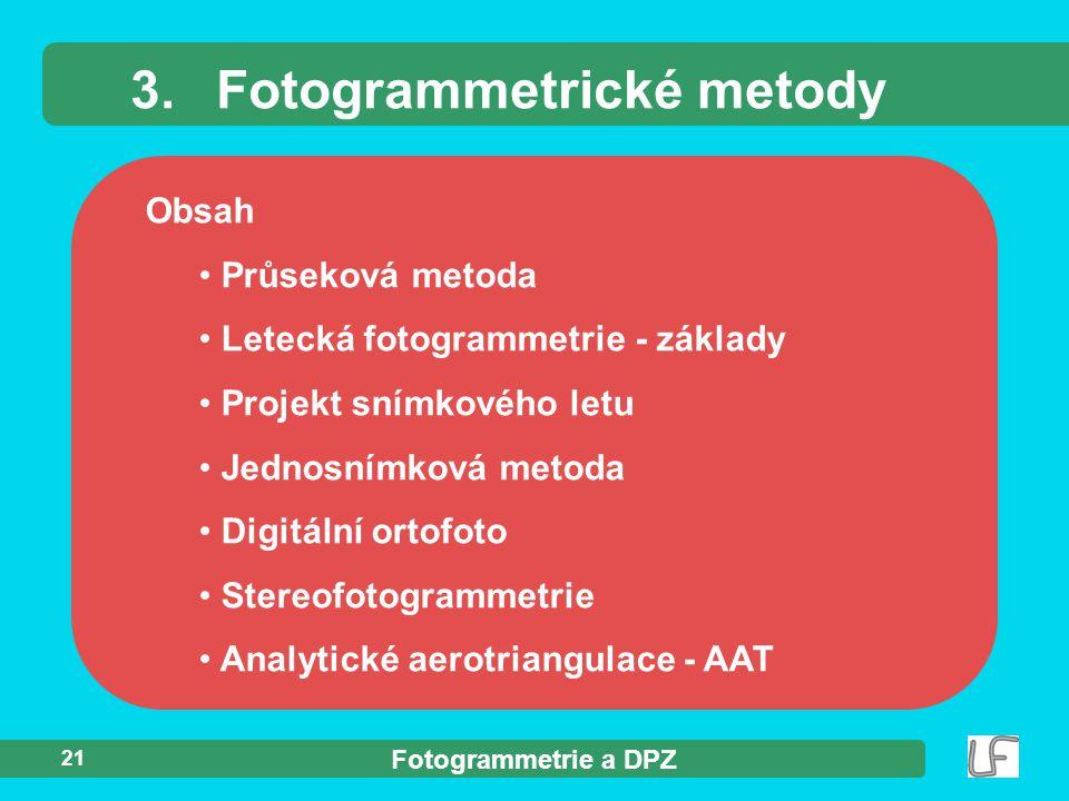 3. Fotogrammetrické metody