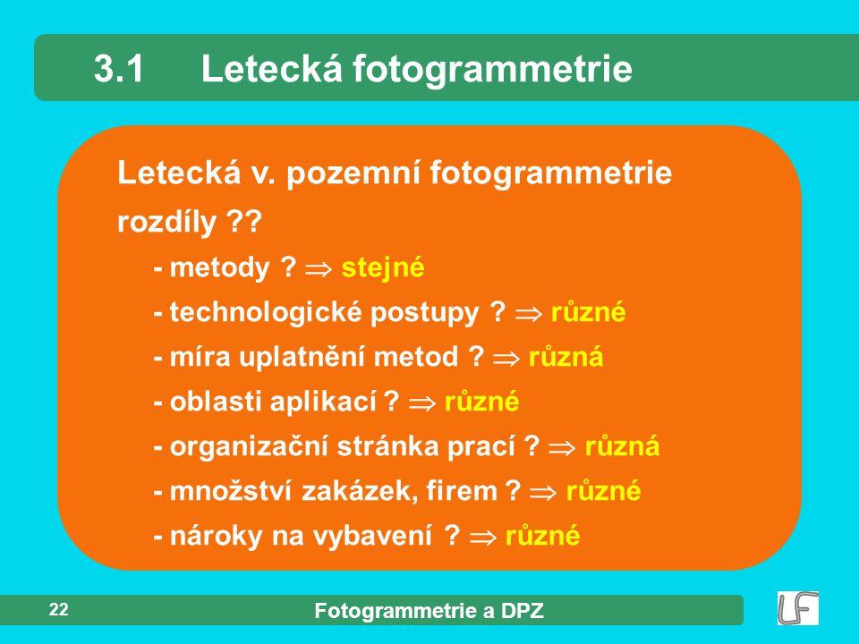 3.1 Letecká fotogrammetrie