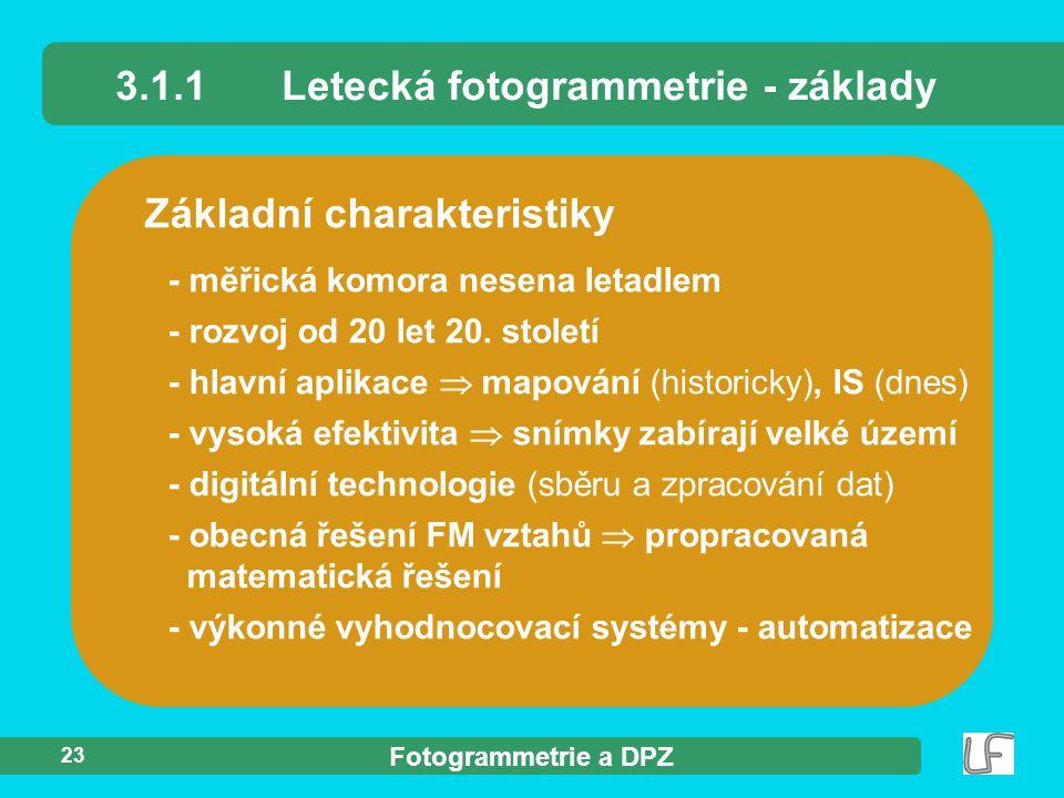 3.1.1 Letecká fotogrammetrie - základy