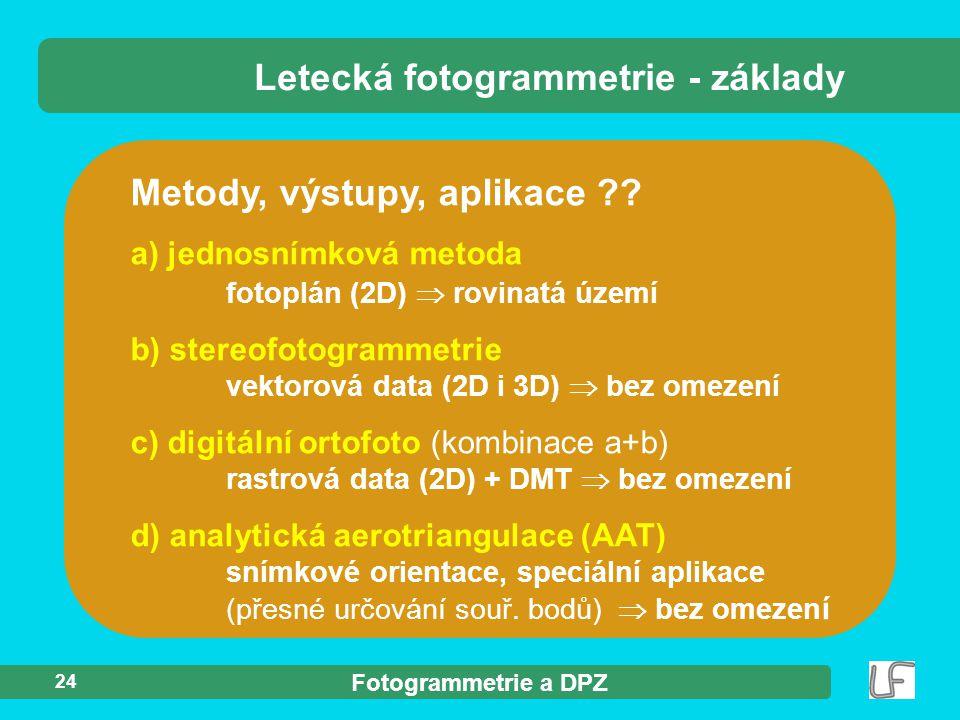 Letecká fotogrammetrie - základy