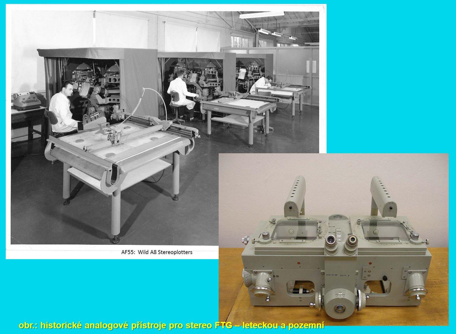 obr.: historické analogové přístroje pro stereo FTG – leteckou a pozemní