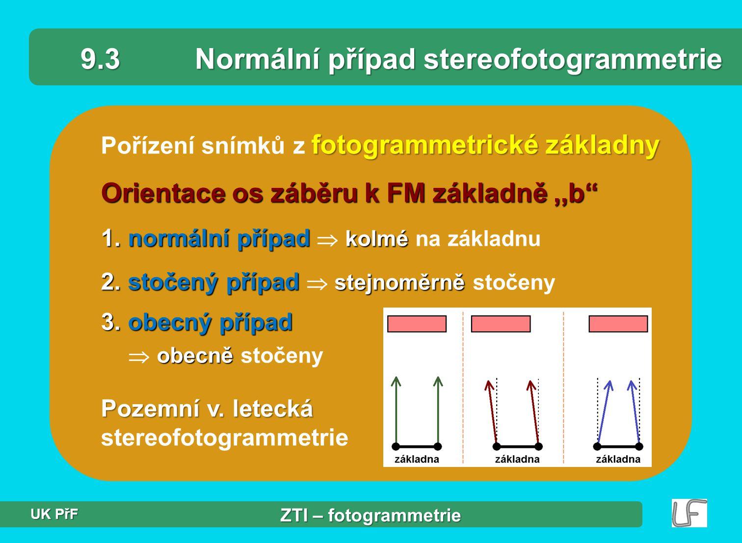 9.3 Normální případ stereofotogrammetrie