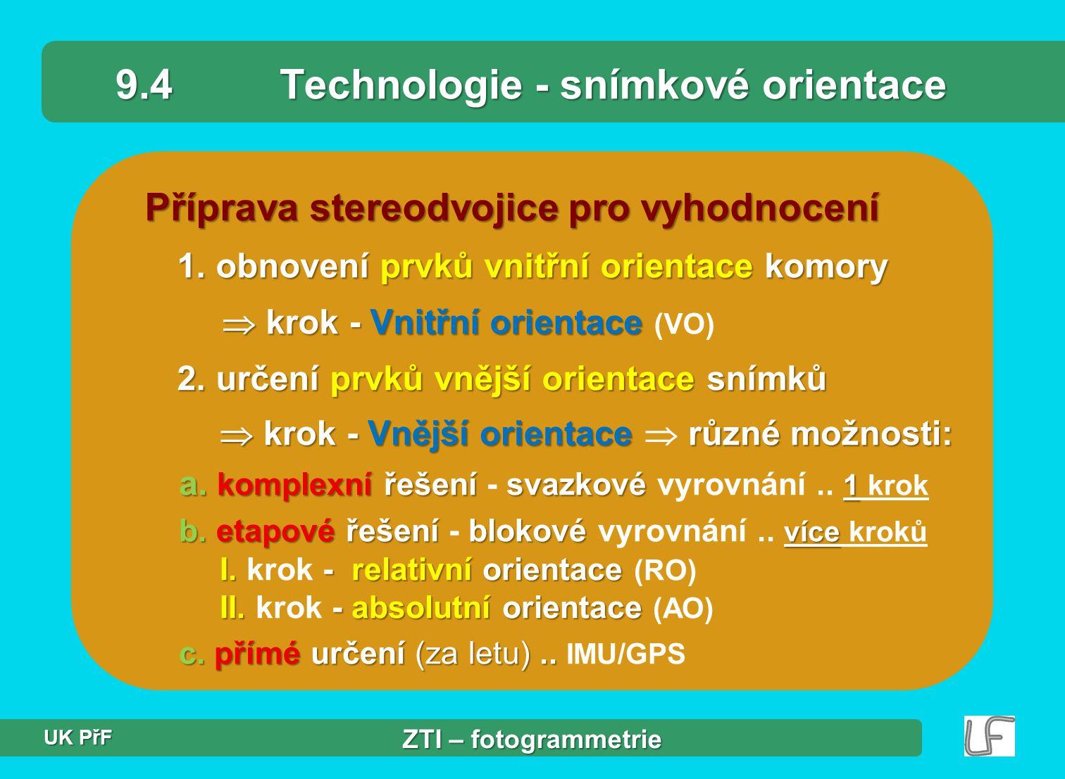 9.4 Technologie - snímkové orientace