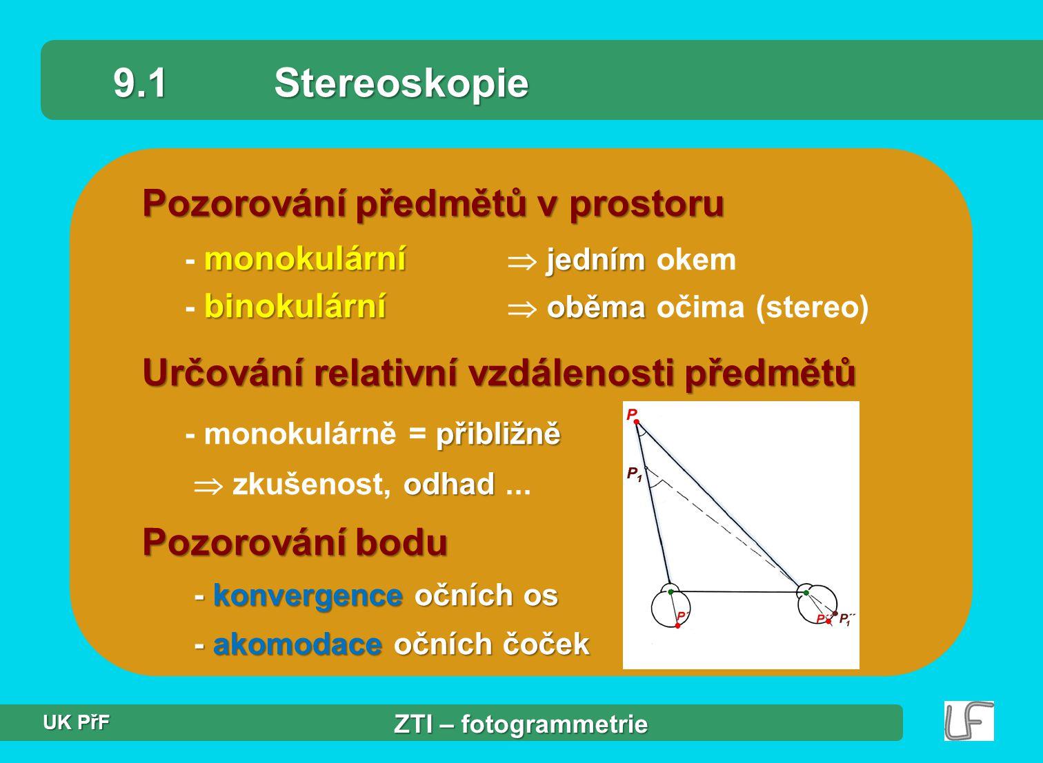 9.1 Stereoskopie Pozorování předmětů v prostoru