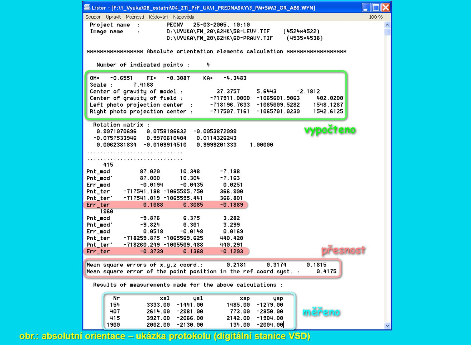 obr.: absolutní orientace – ukázka protokolu (digitální stanice VSD)