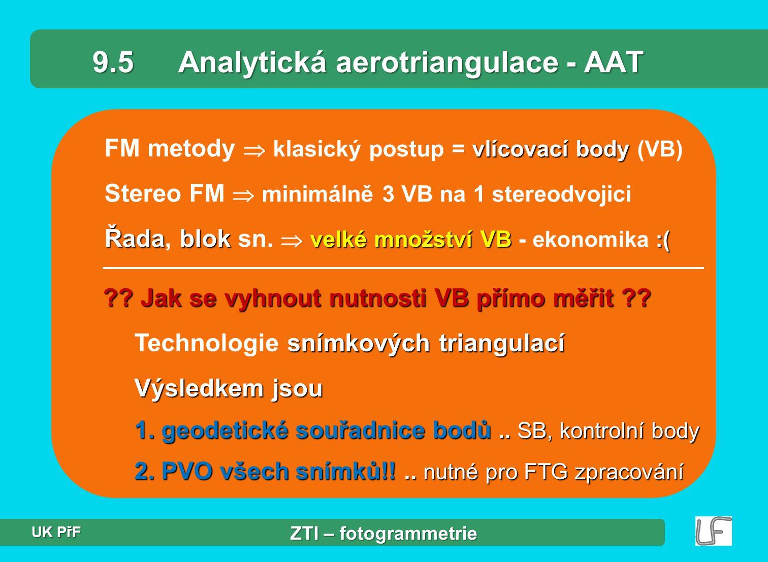 9.5 Analytická aerotriangulace - AAT