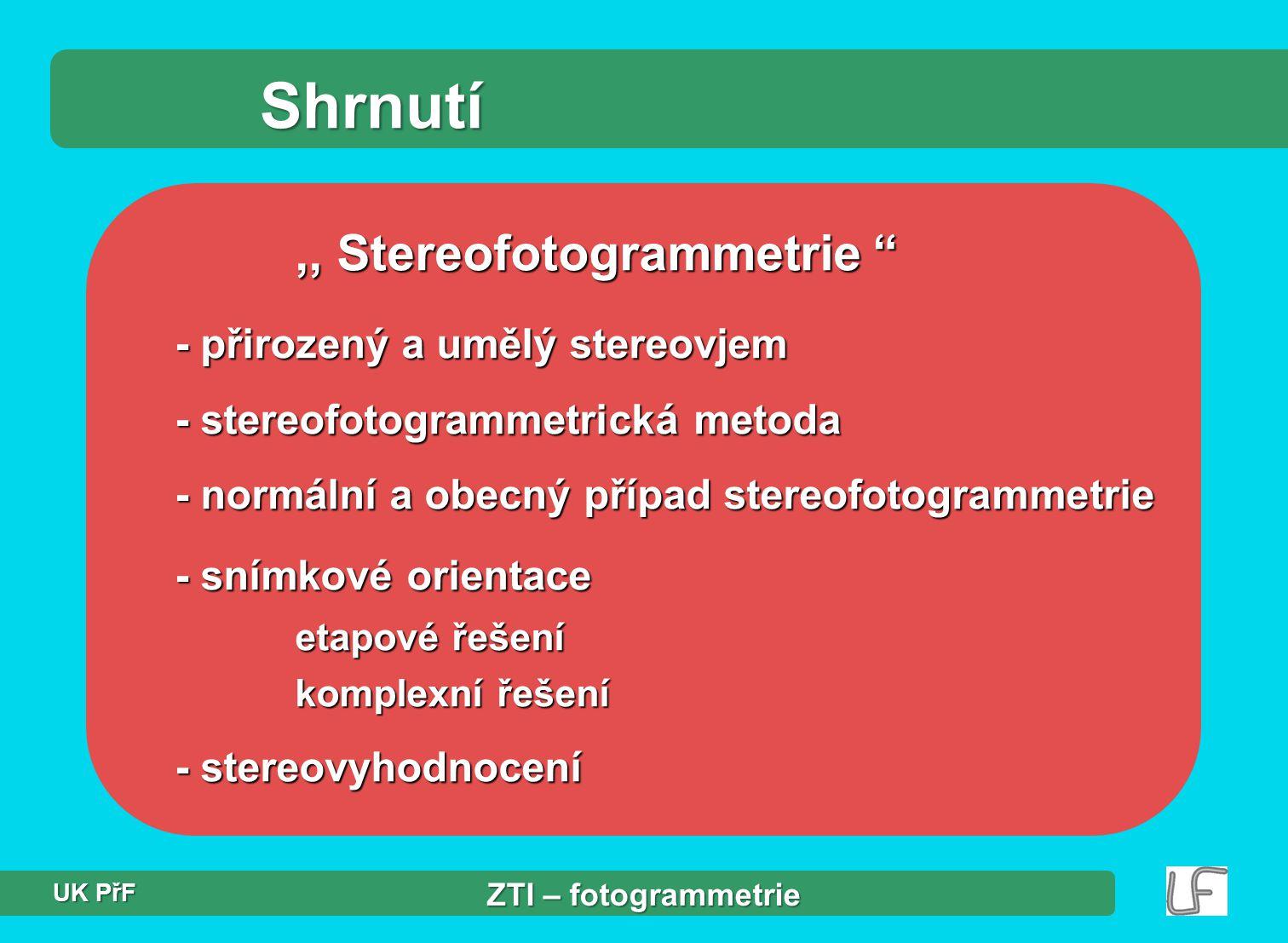 Shrnutí ,, Stereofotogrammetrie - přirozený a umělý stereovjem