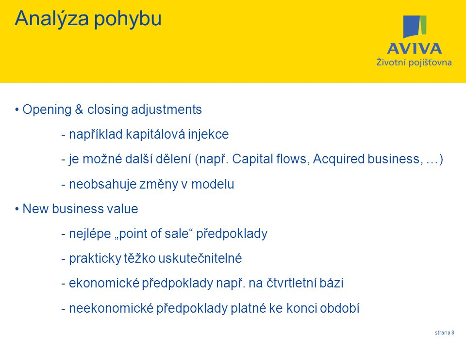 Analýza pohybu Opening & closing adjustments
