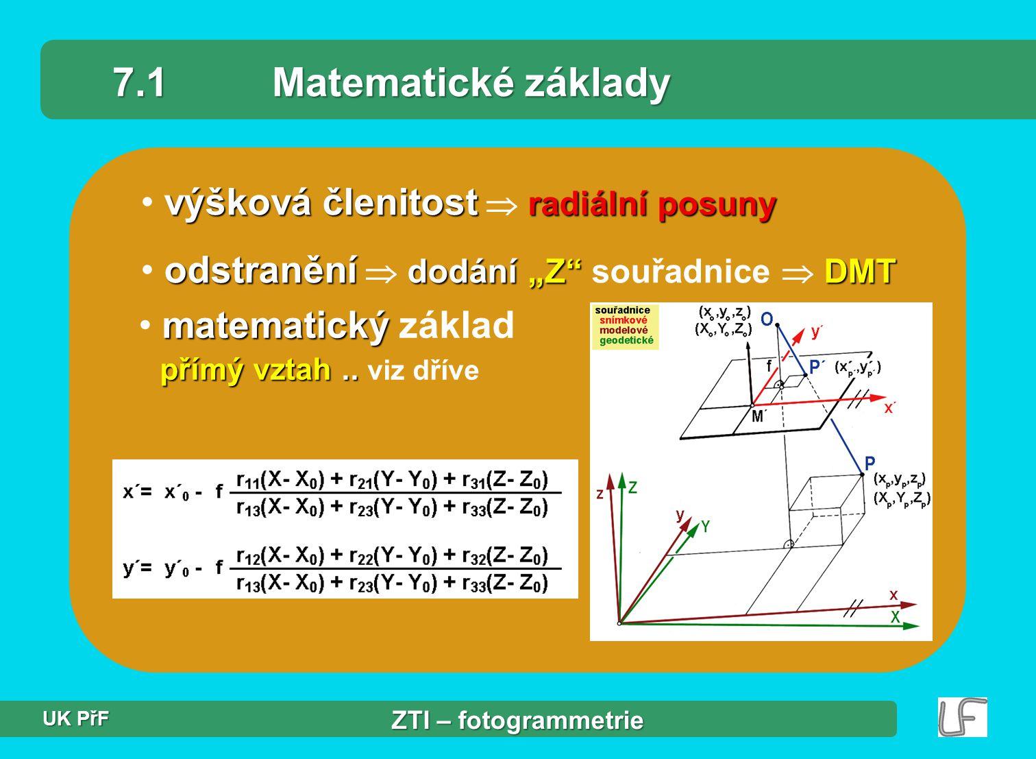 7.1 Matematické základy výšková členitost  radiální posuny