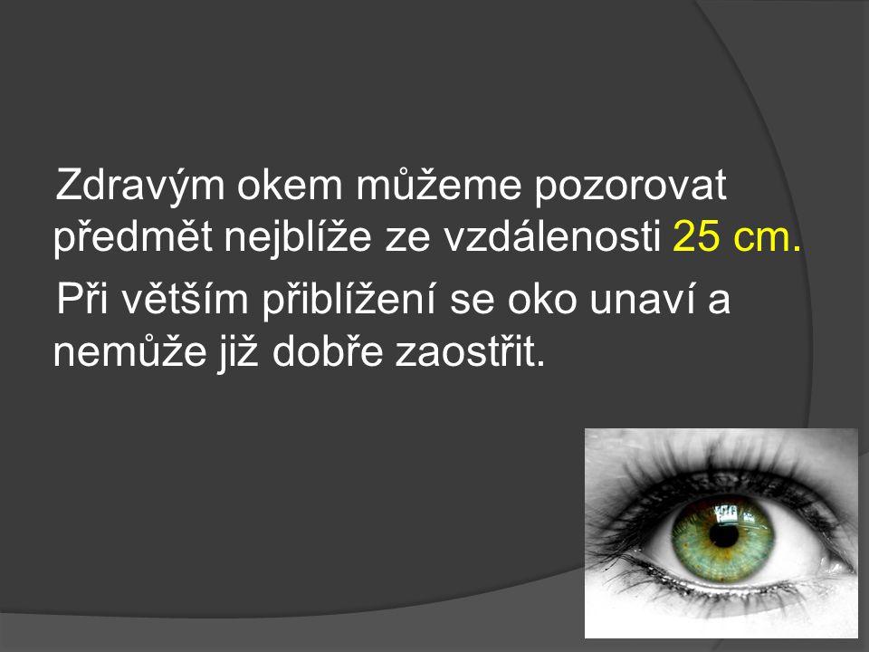 Zdravým okem můžeme pozorovat předmět nejblíže ze vzdálenosti 25 cm