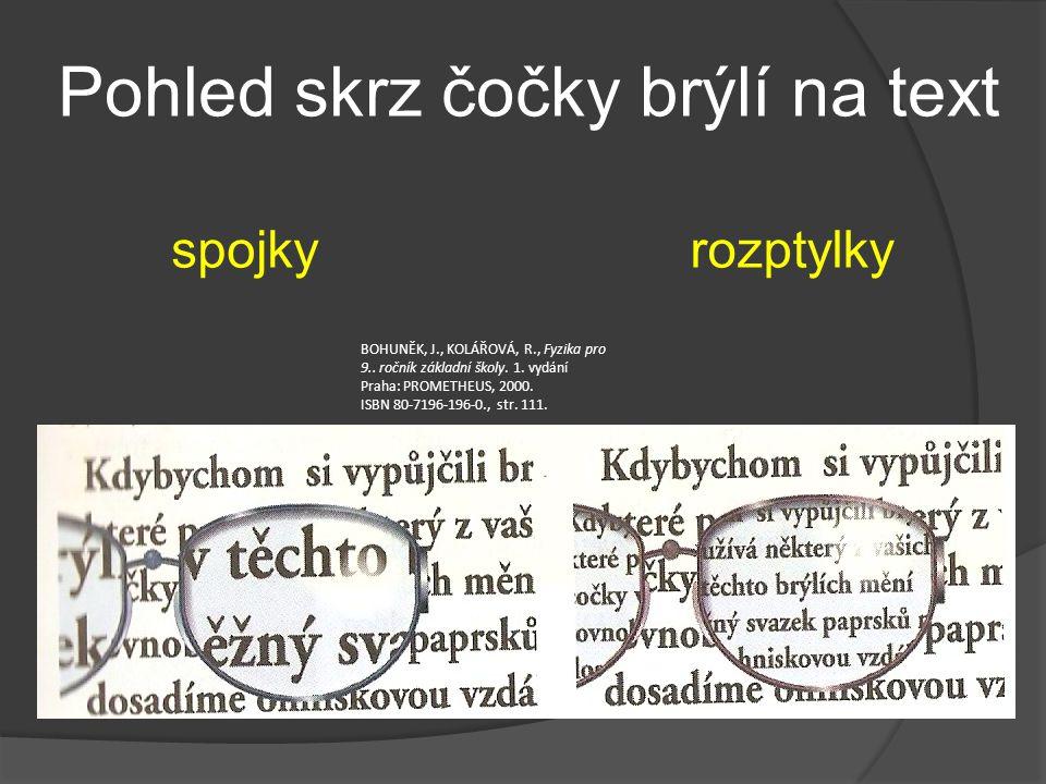 Pohled skrz čočky brýlí na text
