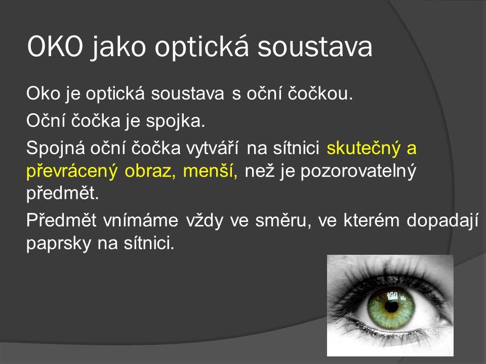 OKO jako optická soustava