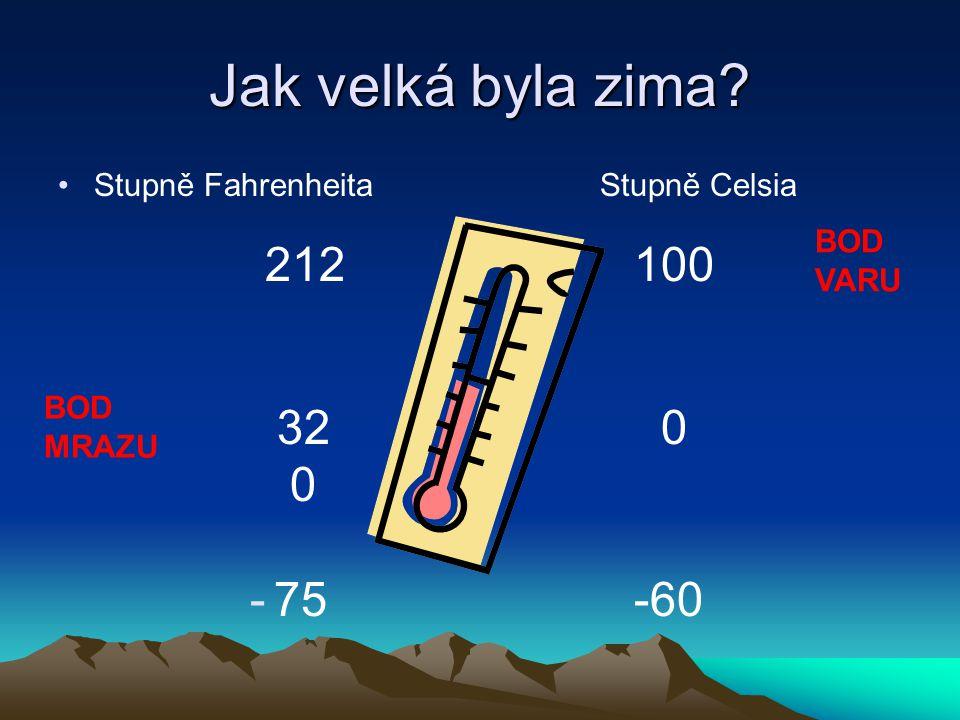 Jak velká byla zima 32 0 75 -60 Stupně Fahrenheita Stupně Celsia BOD