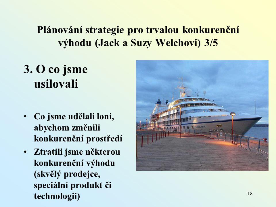 Plánování strategie pro trvalou konkurenční výhodu (Jack a Suzy Welchovi) 3/5