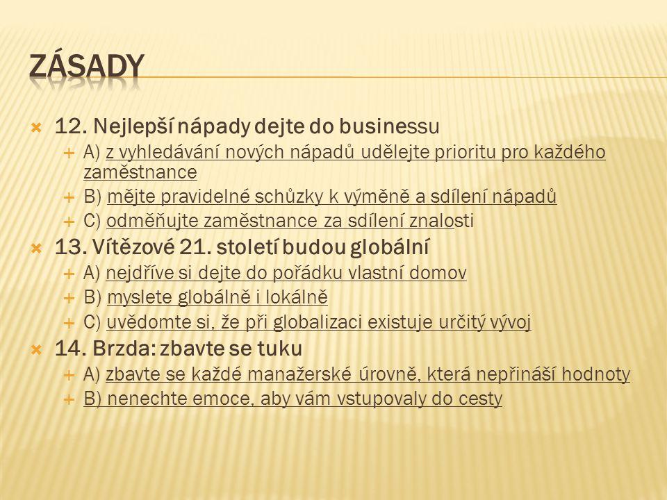 ZÁSADY 12. Nejlepší nápady dejte do businessu