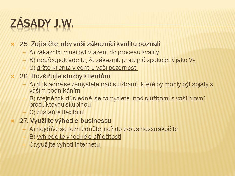 ZÁSADY J.W. 25. Zajistěte, aby vaši zákazníci kvalitu poznali
