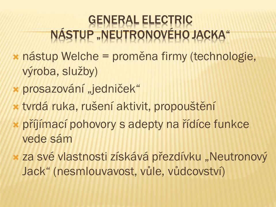 "GENERAL ELECTRIC NÁSTUP ""NEUTRONOVÉHO JACKA"