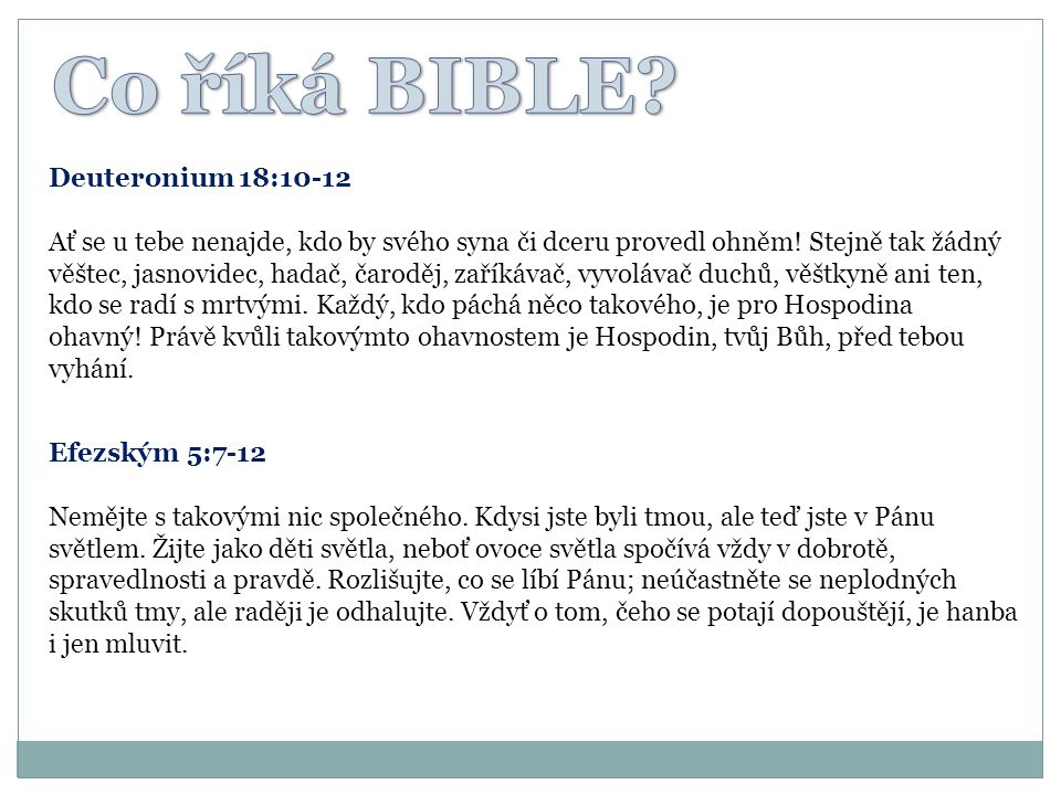 Co říká BIBLE Deuteronium 18:10-12