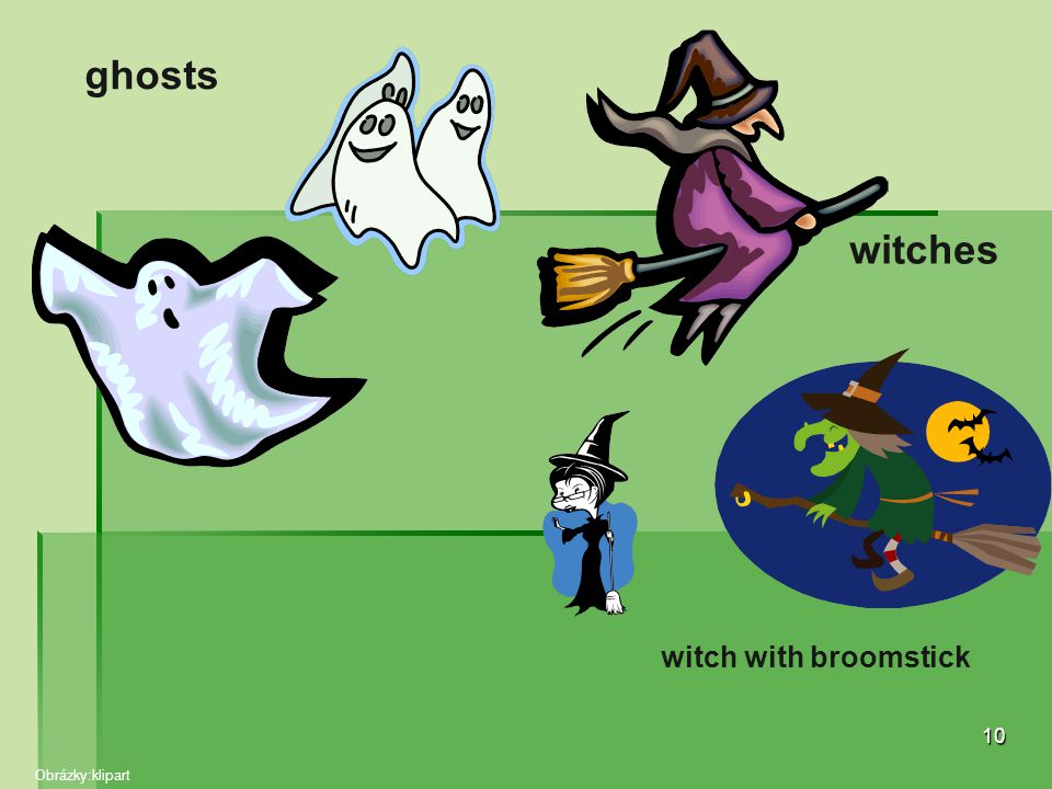 ghosts witches witch with broomstick Obrázky:klipart
