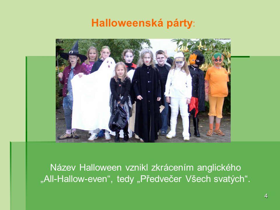 Halloweenská párty: Název Halloween vznikl zkrácením anglického