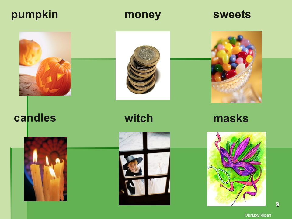 pumpkin money sweets candles witch masks Obrázky:klipart