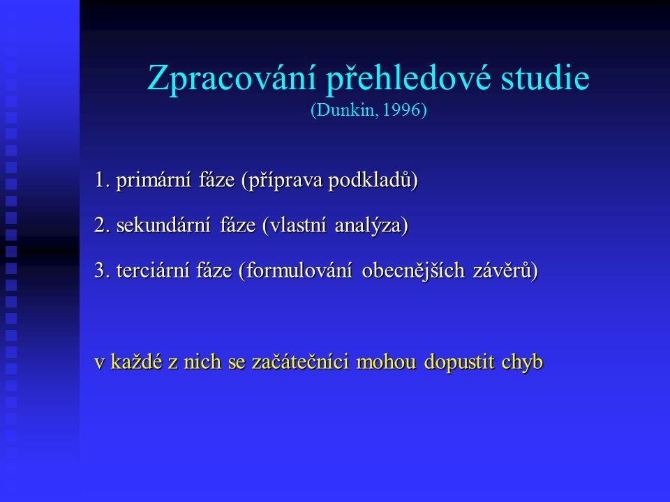 Zpracování přehledové studie (Dunkin, 1996)