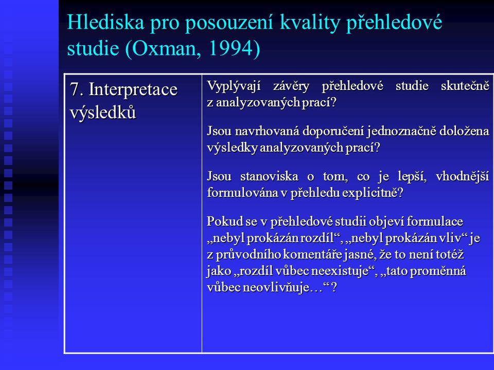 Hlediska pro posouzení kvality přehledové studie (Oxman, 1994)