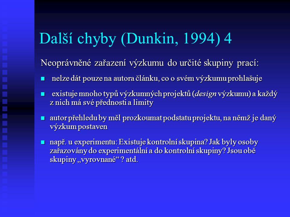 Další chyby (Dunkin, 1994) 4 Neoprávněné zařazení výzkumu do určité skupiny prací: nelze dát pouze na autora článku, co o svém výzkumu prohlašuje.